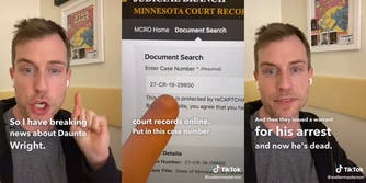 "Man speaking, pointing finger at Minnesota Court Records page with caption ""So I have breaking news about Daunte Wright."" (l) ""And then they issued a warrant for his arrest and now he's dead"" (r)"