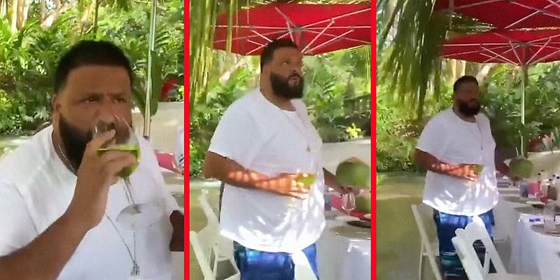 DJ Khaled standing up and looking confused.