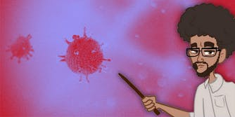 Cartoon scientist pointing at coronavirus.