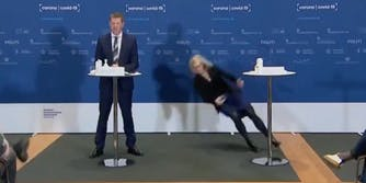 Denmarks' Tanja Erichsen fainting at a Covid press conference