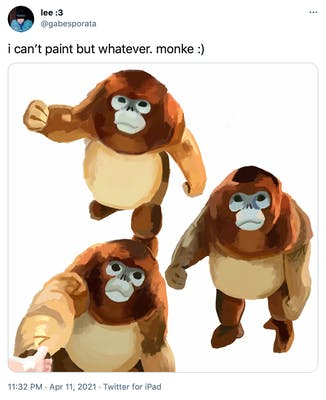"""i can't paint but whatever. monke :)"" three watercolour style drawings of the monkey, one as he walks forward, one as he stairs up looking a bit sarcastic and one as he reaches for berries"