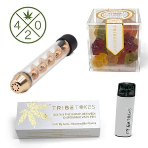 Tribe Tokes 4/20 celebration stoner kit box includes a glass blunt, CBD gummy bears, and a Delta-8 disposable vaporizer.