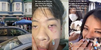 outside of gino and carlo, Asian 18-year-old with swollen and bruised eye, and Sofia Enguillado's Facebook live