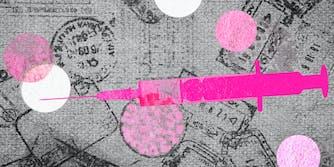 A cartoon syringe on passport stamps.