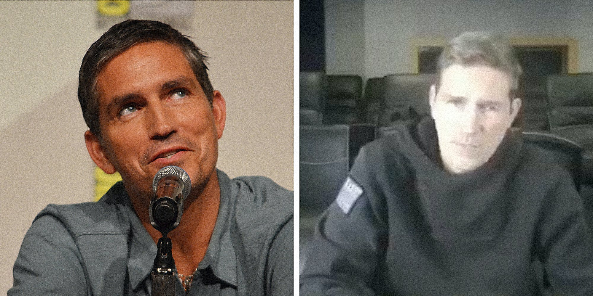 Jim Caviezel at a microphone.