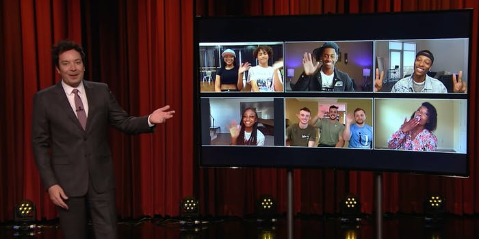 jimmy fallon gestures to screen