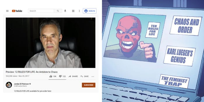 comparison of Jordan Peterson YouTube channel with Red Skull's video channel