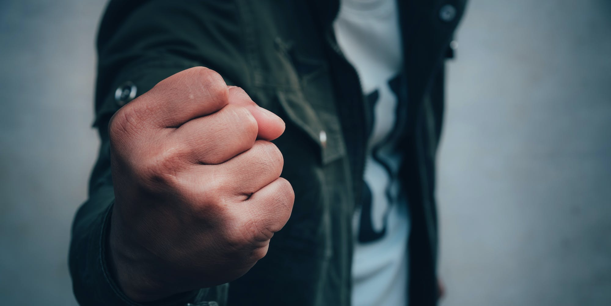 fist clenched