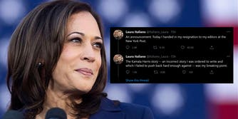 "kamala harris and tweet from laura italiano ""An announcement: Today I handed in my resignation to my editors at the New York Post. The Kamala Harris story -- an incorrect story I was ordered to write and which I failed to push back hard enough against -- was my breaking point."