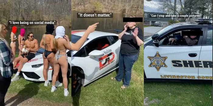 group of people during photoshoot, woman on the phone, cop in cop car