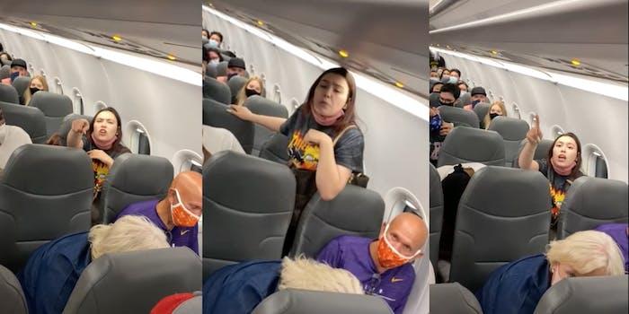 A woman having a public meltdown on a plane