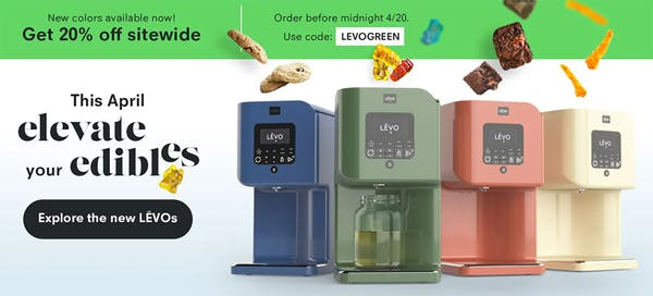 LEVO oil infuser machine in blue, green, orange, and yellow on a white background with a green sale banner and various edibles raining down.