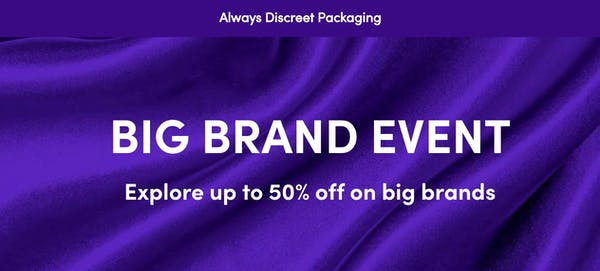 "Lovehoney's Big Brand Event poster reads ""big brand event up to 50% off big names"" on a purple background."