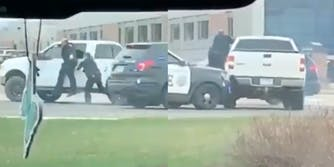 video footage of the suspect driving away with the cop