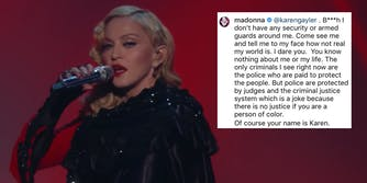 Madonna next to an Instagram post