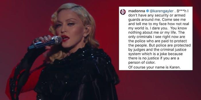 Madonna next to an Instagram post