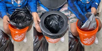 garbage bag inserted in bucket, portable toilet lid, rolling garbage bag into sealable disposable bag