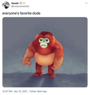 """everyone's favourite dude"" particularly fluffy looking painting of monke"