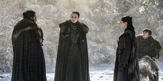 jon snow, sansa stark, arya stark, and bran stark in game of thrones