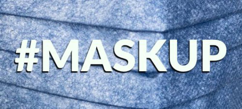 #maskup written in white over blue medical mask background