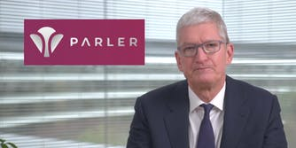 Apple CEO Tim Cook next to the Parler logo