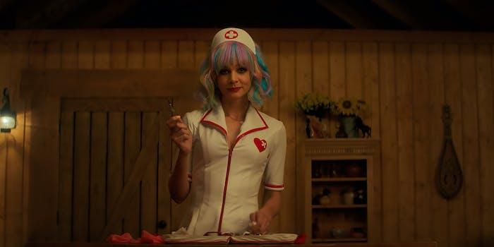 woman wearing a nurse costume