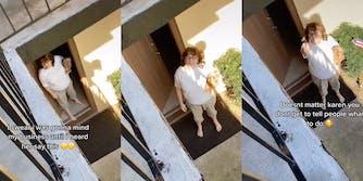 Racist 'Karen' holding dog wags finger at neighbor.