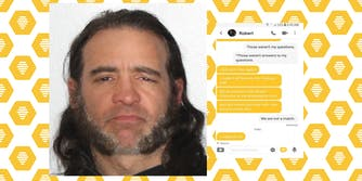 man in mugshot with Bumble private message exchange over Bumble logo background