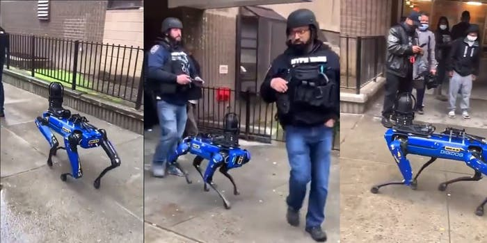Police in New York with a 'Spot' robot