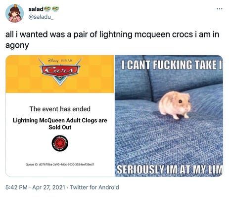 """all i wanted was a pair of lightning mcqueen crocs i am in agony"" screenshot of the sold out page and then a meme of a hamster on a couch looking anxious and the text ""I can't fucking take it seriously I'm at my limit"""