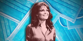 Sarah Palin on a background of face masks.