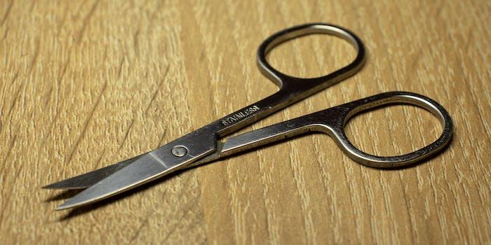 Scissors on desk