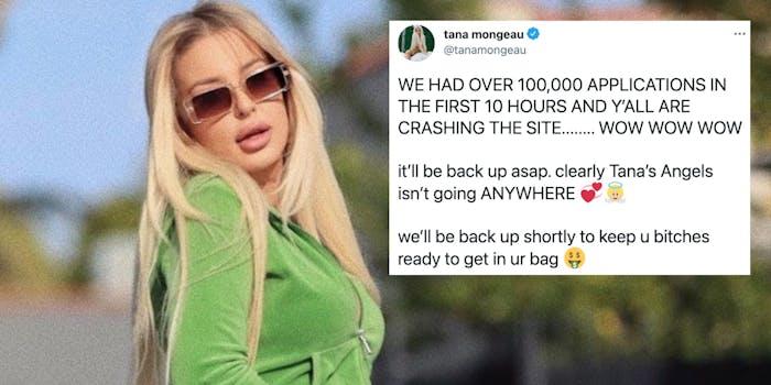 Tana Mongeau next to a tweet