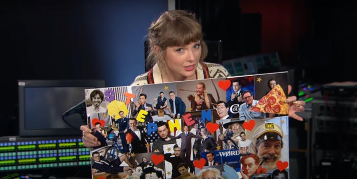 taylor swift holding mood board with stephen colbert's face all over