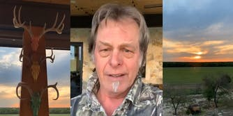 animal skulls on a post (l) ted nugent announces he had COVID-19 (center) sunset over a forest and field (r)