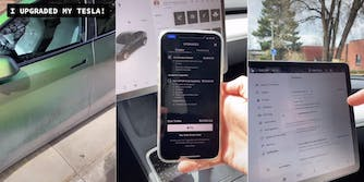 A TikTok video of a Tesla being upgraded