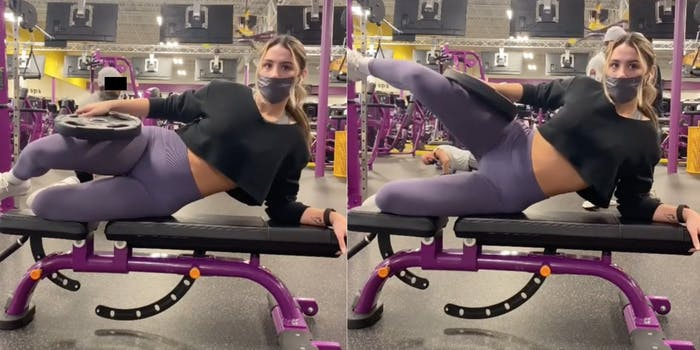 A TikTok user working out in the gym