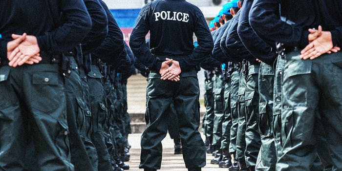 Police officers standing in formation.