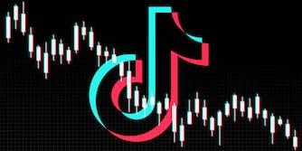 tiktok logo with downward trending stock tracker chart