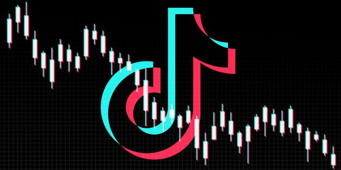 tiktok logo with downward trending stock tracker chart
