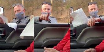 traffic cop gives driver a citation, cop points at driver after calling him argumentative