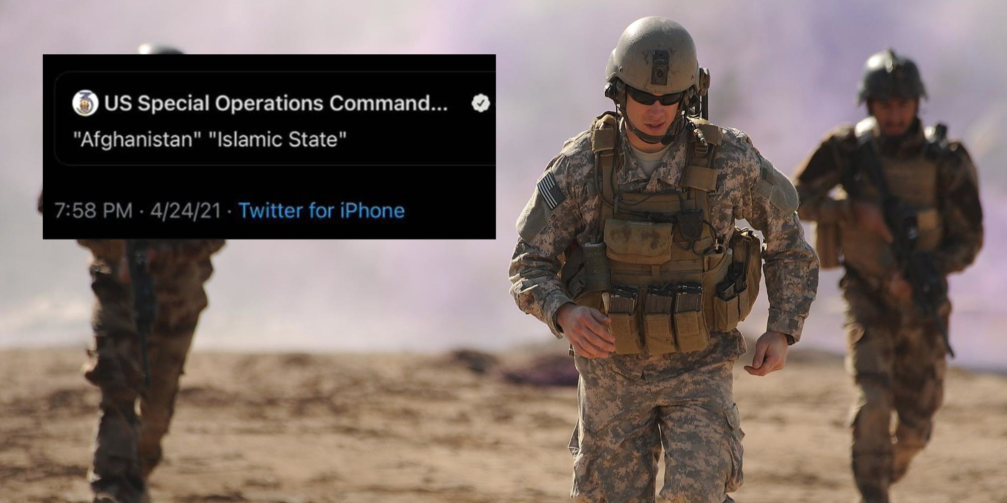 A tweet next to a special forces soldier