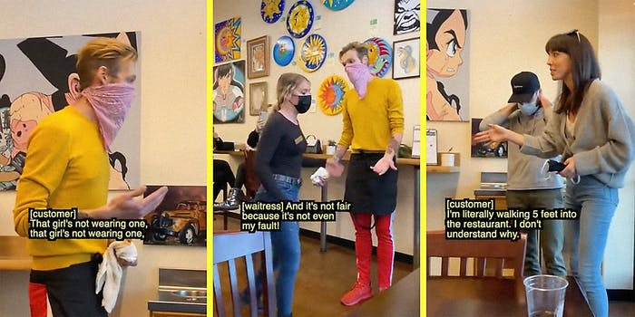 A woman argues with two restaurant employees.