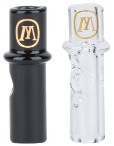 Marley Natural glass filter tips in black and clear. Feature the Marley brand logo in gold at the base of the tip.