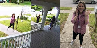 white woman walking up to porch, police officer speaking with Laquetta Good, white woman waving at camera while on phone