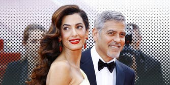 George and Amal Alamuddin Clooney smiling.