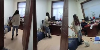 video shows woman beating boss with mop