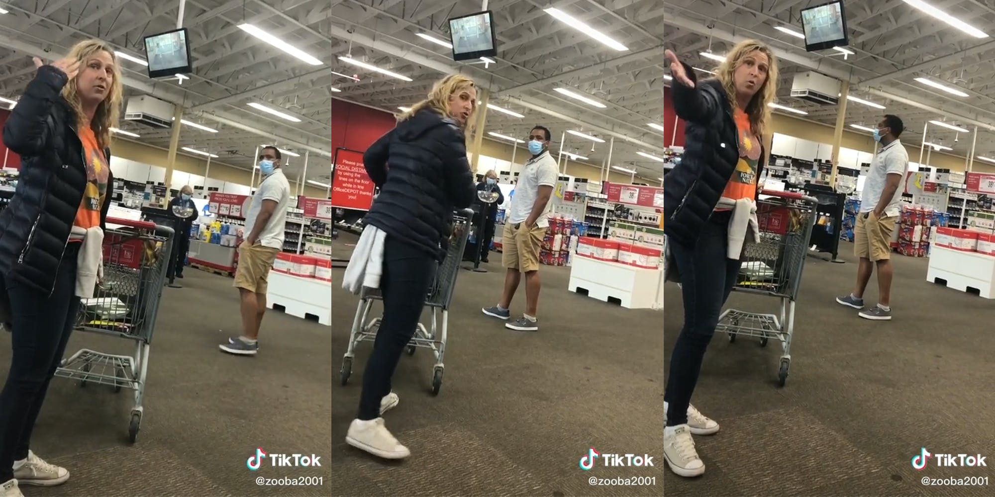 Woman in store without mask, gesturing