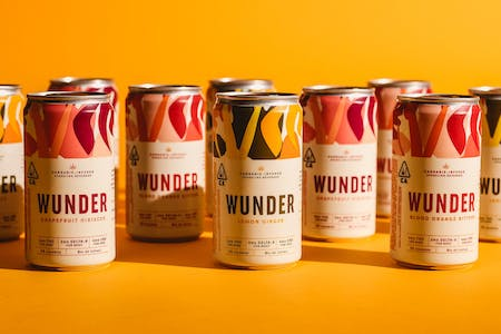 Wunder 420 cannabis infused seltzer in the flavors grapefruit hibiscus, and lemon ginger.