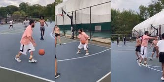 Adam Sandler playing pickup basketball in Long Island